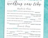 Elegant Wedding Vow Madlibs PDF - Rehearsal Dinner Activity - Printable Bridal Shower Game - Alternative Guest Book