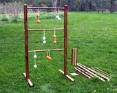 Wooden Ladder Ball Game Set, Stained, with Easy Assembly / Dis-assembly Ladders, Stands, and Real Golf Ball Bolas