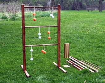 "Ladder Ball Game - All Wood Set, Stained, and featuring ""Easy Assembly / Dis-assembly"" Ladders, Stands, and Real Golf Ball Bolas"