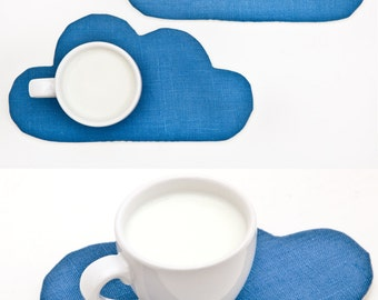 Blue Coaster for cups, Cloud Drink Coaster, Home Decor