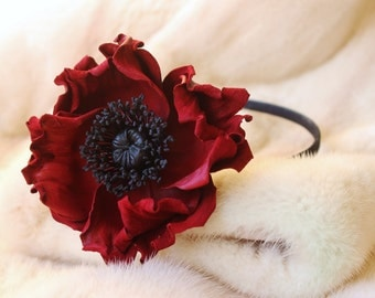 Red leather flower headband, leather poppy, red poppy, burgundy headband, leather anniversary, leather headband