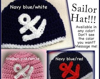 Sailor hat, photo prop, baby, newborn, 0-3 months, 3-6 months, boy, girl, pink, blue, red, white navy hat baby sailor