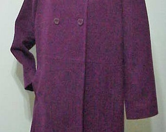 Vintage Wool Coat      Double Breasted Military Style