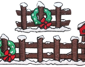 ID #8161AB Lot of 2 Snowy Fence Winter Season Embroidered Iron On Applique Patch