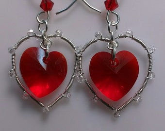 Floating Red Swarovski Heart Earrings