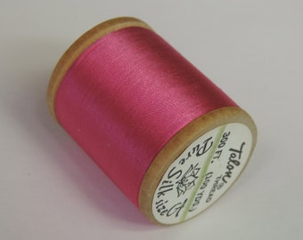 Vintage Talon  Pure Silk Hand Sewing Embroidery Thread 100 Yd. Wooden spool Shade Number 340 Hot Pink