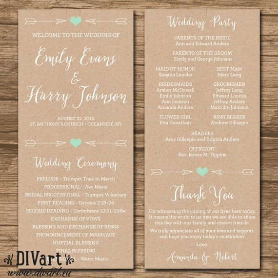 Wedding Programs: Rustic Wedding Program Ceremony Program PRINTABLE Files By