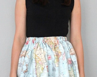 Skirt/ world map/ swinging/ playful/ high waisted - Globe