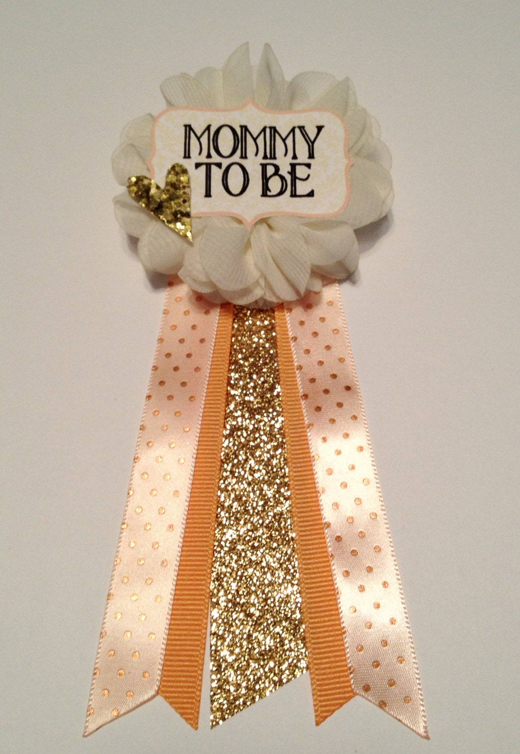 peach gold baby shower pin mommy to be pin flower ribbon pin