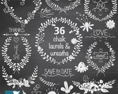 Chalk Laurel Wreath Clipart, Chalk Wedding Laurels, Hand Drawn Chalkboard Leaf Branches and Flowers Clip Art -   Instant Download