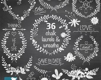 Chalk Laurel Wreath Clipart, Chalk Wedding Laurels, Hand Drawn Chalkboard Leaf Branches and Flowers Clip Art -   Instant Download