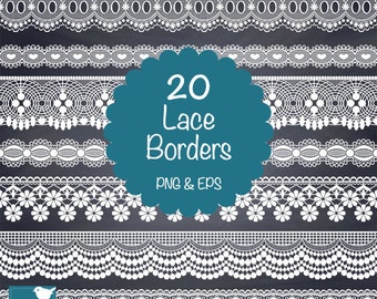 Lace Borders Clipart, White Lace Borders, Wedding Lace, Digital Borders, White Lace Clip Art, Vintage Borders- Instant Download