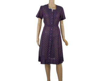 Purple Plaid Dress - Vintage SHIRT DRESS 1960's 60's Hourglass Fitted Button Up Style Office Cocktails Violet Nubby Urban Sheer Gauze Fabric