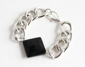 Glossy Silver Chain Link Bracelet with Black Diamond Agate - Glossy Silver Chunky Chain