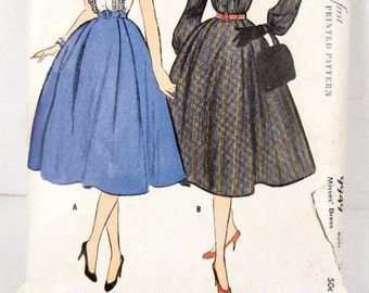 Dress sewing pattern womens shirtwaist vintage from 1950s McCalls #9949  size 20