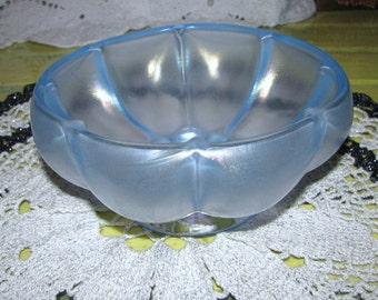 Fenton Melon Bowl 1980s Blue Stretch Iridescent Fenton in Oval 80s Mark Free USA Shipping, Insurance and Tracking Included in Price