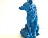 LIGHT PEACOCK BLUE Large Fox Animal Statue  woodland decor home decor unique gift kids room den office decor