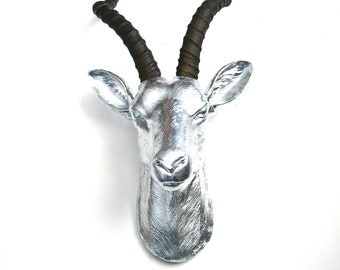 Faux Taxidermy Antelope Head wall mount hanging home decor:  Anya the Antelope in silver with natural-looking horns