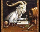 Funny craft beer painting 6x6, Zymology: Goat scientist analyzing home brew. Beer lover gift, chemistry art, alphabet letter Z, goat art