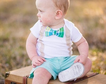Baby Boy Bow Tie Bodysuit with Suspenders - Green Plaid Bow tie, Baby Boy Birthday, Little Man Spring, Little Man Bodysuit, Spring Baby Boy