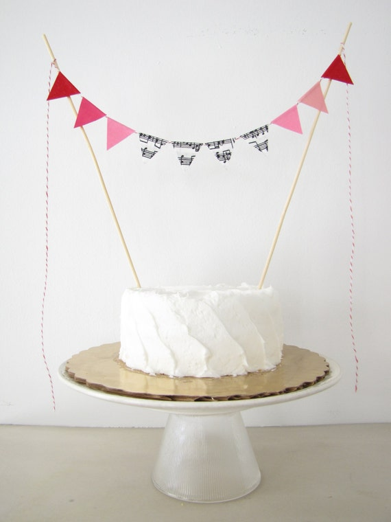 Love Song Wedding Cake Topper - Fabric Cake Bunting - Baby Shower, Party, Birthday Decor, sweet red pink white music notes Valentine's Day