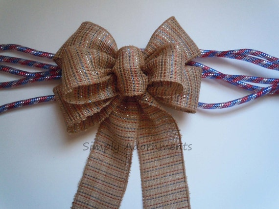 Rustic Patriotic  Burlap Bow July 4th wreath Bow Patriotic Burlap Wreath Bow Red White Blue Burlap Gift Wrap Bow