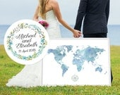 Wedding Guest Book Alternative Watercolor Atlas World Map - French Paper- Recycled Paper - Custom Color - Add Quote, Date - Venus Color