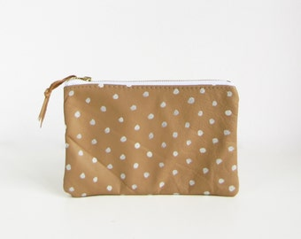 White Dots small leather pouch, Zippered pouch, Cosmetic bag, Tan, Polka dots , Printed Leather