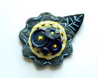 Felt Flower Pin Brooch for Women Jewelry Re-purposed Navy Blue Yellow Grey