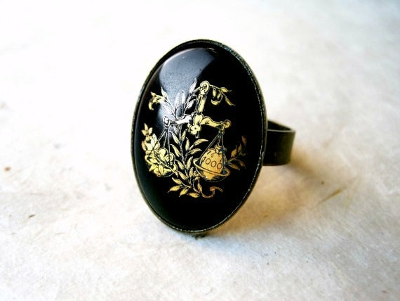 Libra Ring. Astrology Jewelry. Black and Gold Ring. Libra Star Sign Jewelry. Bronze Ring with Gold-Etched Glass Cabochon. October Birthdays.