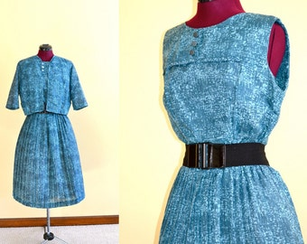 1950s Vintage Teal Green Day Dress with Matching Bolero Jacket size M L bust 40