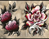 Rose and Gradient Roses Tom Ruki Tattoo Print