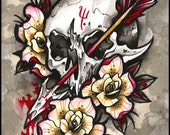 Skull and Roses Arrow Tom Ruki Tattoo Print