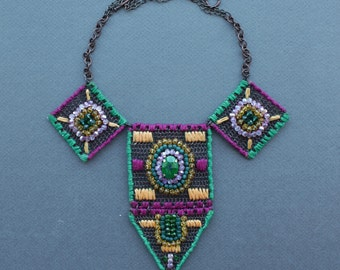 MAKEDONIA Statement Bib Colorful Ethnic Necklace/ Gipsy Boho Chic Large Necklace/ Copper Wire Crocheted Cotton Embroidered Crystal Necklace
