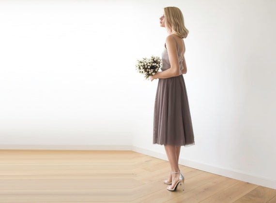 Lady Angel Free Shipping Short Beige Chiffon Bridesmaid: Tulle Midi Length Taupe Bridesmaids Skirt Taupe By