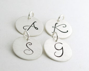 Initial Charms Personalized Gifts - Sterling Silver Initial Charm - Custom Hand Stamped Initial Personalized Sterling Silver Jewelry