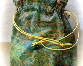 Project Bag Kit , Hand dyed Yarn, greens, golds batik