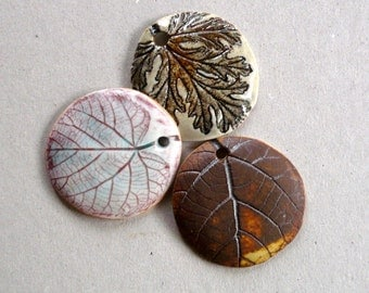 Porcelain Leaf Pendants, Ceramic Pendants, Jewelry Supplies, Nature Pendants