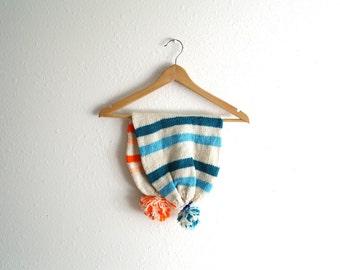 Vintage Knit Beanie - 2 in 1 Hat Reversible Beanie - Toboggan - Ski Beanie - Pom Pom Beanie - Blue Turquoise - Neon Orange