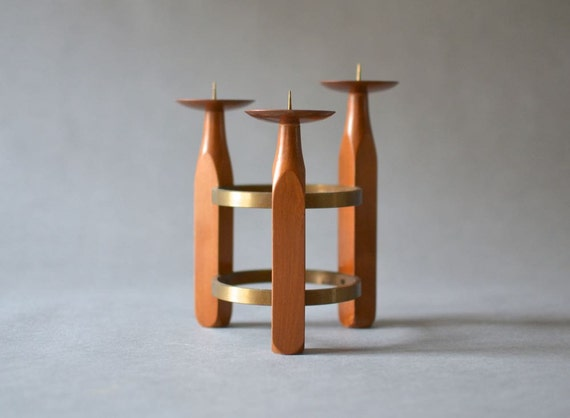 Vintage candlestick holder candle stick teak brass copper teak MId-Century wood Danish Denmark 60s Scandinavian