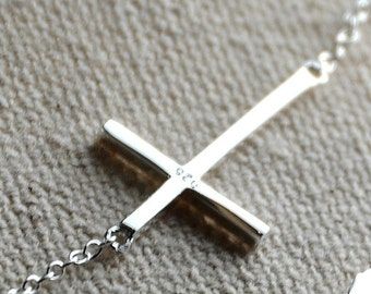 "All Sterling Silver Sideways Cross Bracelet, minimalist, jewelry, sterling , dainty , sideways, 6""-7"""