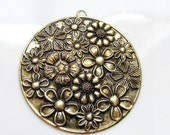 Gold Bronze Large Round Metal Floral Pendant