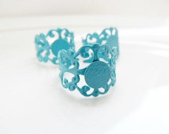 Turquoise Blue Filigree Brass Ring Base Glue Pad Blanks - Set of 4