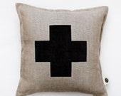 Swiss cross pillow cover - gray linen - decorative covers - throw pillows - shams 14x14/16x16/18x18/20x20   0152