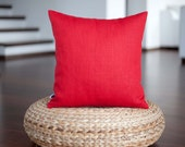 Red pillow cover - linen throw pillows - solid cushion case - throws 14x14/16x16/18x18/20x20/22x22  0353