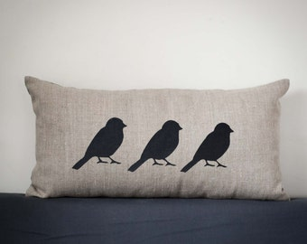 Bird Lumbar pillow cover-gray natural linen pillowcase - birds pillows throw- black bird cushion covers - linen cushion - small lumbar 0141