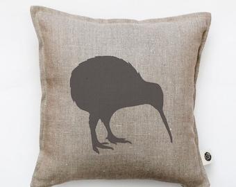 Kiwi bird pillow cover - decorative pillow - kiwi pillow - New Zealand national symbol print cushion - bird throw pillow  0135