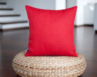Red pillow cover - linen throw pillows - red decorative pillow case - accent pillows collection  0353