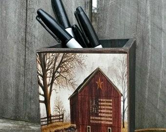 Flag Barn / Handmade Wooden Box / Pencil Box