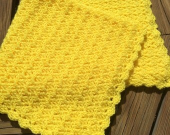 Baby/Child Blanket/Afghan Unisex Hand Crocheted Bright Yellow Yarn Sideways Shell Design 36 Inches Square READY TO SHIP